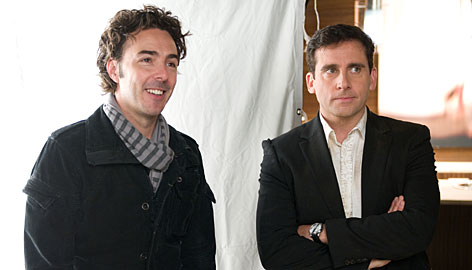 """Uncynical filmmaker"": Director Shawn Levy, left, with Steve Carell, says he explored marriage with a romantic view."