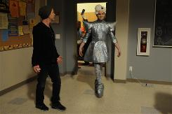 Chris Colfer rehearses his walk as Kurt in a Lady Gaga costume for director Ryan Murphy, who is the series' co-creator and executive producer.