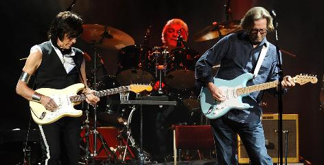 >No gunslinging: Jeff Beck, left, said he and fellow guitar legend Eric Clapton have a tricky though respectful rapport on stage, as at their Madison Square Garden show in February.