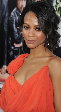 Actress Zoe Saldana arrives at the Death at a Funeral premiere on Monday.