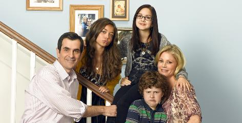 Modern Family: ABC's hit comedy stars Ty Burrell, left, Sarah Hyland, Ariel Winter, Nolan Gould and Julie Bowen.