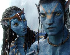 Zoe Saldana and Sam Worthington in James Cameron's blockbuster Avatar.