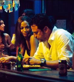 Business and pleasure: Clay (Jeffrey Dean Morgan) meets Aisha (Zoe Saldana) while on a mission in Bolivia.