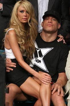In happier times: Tito Ortiz and Jenna Jameson after his fight at the MGM Grand in Las Vegas in 2008.