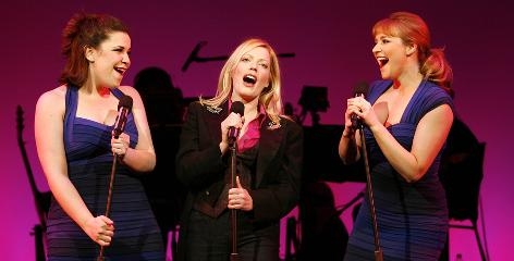 Big personality, big voices: Sherie Rene Scott, center, is backed up by Lindsay Mendez, left, and Betsy Wolfe in Everyday Rapture, which is inspired by her life.