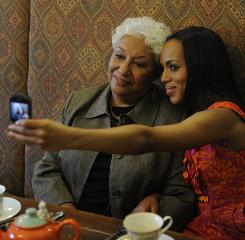 A snap: Kerry Washington and her mother, Valerie, settle in for a cup of tea. Kerry's new film, Mother and Child, is in theaters now.