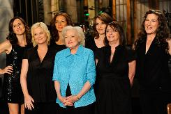 Saturday Night Live host Betty White is flanked by female cast members from the last decade. From left: Molly Shannon, Amy Poehler, Maya Rudolph, White, Tina Fey, Rachel Dratch and Ana Gasteyer.