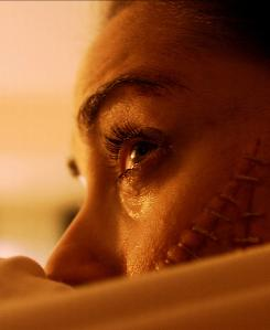 Lindsay (Ashley C. Williams) is one of three people stitched together by a mad German scientist in Human Centipede (First Sequence).