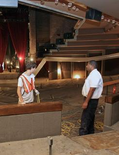 Repair work goes on in the Grand Ole Opry House, which was heavily damaged from recent flooding in Nashville.