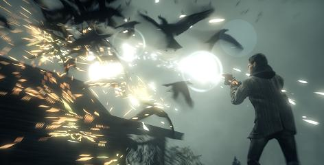 Alan Wake fends off a group of possessed birds. Flashlights weaken the game's enemies, and a gunshot does the rest.