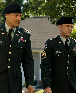 Woody Harrelson, left, and Ben Foster star in an Iraq War film about Casualty Notification, when families are told that loved ones have been killed in battle.