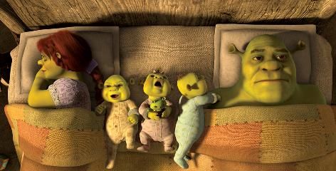 Fiona (voiced by Cameron Diaz) sleeps peacefully next to triplets Fergus, Felicia and Farkle. But Shrek (Mike Myers), who is feeling domesticated and not his usual brutish self, has trouble doing so in Forever After.