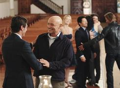 A final farewell: Matthew Fox, left, Terry O'Quinn, Cynthia Watros, Daniel Dae Kim, Evangeline Lilly, Jorge Garcia and Josh Holloway.