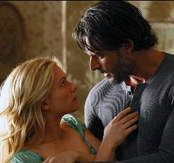 A beast of a task: Sookie (Anna Paquin) gets help from werewolf Alcide Herveaux (Joe Manganiello) in her search for Bill.
