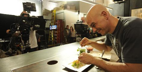 Iron Chef Michael Symon's new Cooking Channel show is titled, aptly, Cook Like an Iron Chef. Symon, who won the title in 2007, makes a mean crab taco.