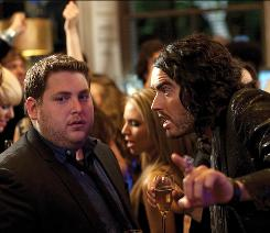 It's a no-go: Aldous Snow (Russell Brand), right, isn't making trip to L.A. easy for Aaron (Jonah Hill).