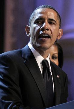 "President Barack delivers his remarks at Ford's Theatre's ""Spirit of America"" celebration in Washington, D.C., on Sunday."