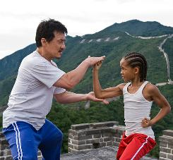 Wax on: Jackie Chan teaches Jaden Smith some moves.