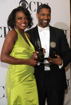 They share the stage and the winners' circle: Viola Davis and Denzel Washington won for best leading actress and actor in a play for Fences, which also got the award for play revival.