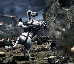 Assassin's Creed Brotherhood: Assassin Ezio Auditore attempts to withstand an attack of the Templars.