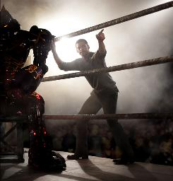 Early in the film, Hugh Jackman instructs a Samurai- design robot contender called Noisy Boy in an underground fight club