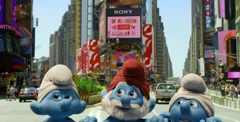 "Grouchy, Papa and Clumsy, and various other lovable blue creatures, are coming to New York through the magic of live action, and a blue moon ""portal."""