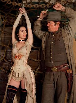A snag in the plan: Lilah (Megan Fox) helps Jonah Hex (Josh Brolin) in his fight against enemy Quentin Turnbull.