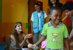 Angelina Jolie visited an Ecuadorian day-care center on Friday.