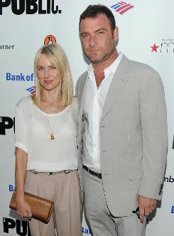 Dramatic couple: Naomi Watts and Liev Schreiber were among the big names at Monday's Public Theater Gala in New York.