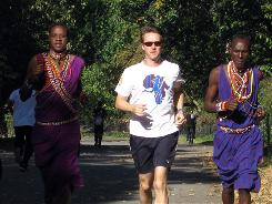 Edward Norton trains in Central Park with Maasai runners Samson Parashina, left, and Parashi Ntanin. Crowdrise, Norton's fundraising site, grew out of a Maasai Wilderness Conservation Trust fundraising campaign.