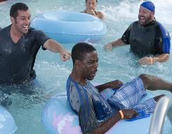Splash: Adam Sandler, left, Chris Rock and Kevin James are old friends who reconnect with one another at a funeral.