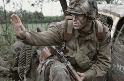 Lt. Richard Winters (Damian Lewis) leads Easy Company through northern France following D-Day in Band of Brothers. The Emmy-winning miniseries returns to Spike in its entirety Monday (9:30 a.m.-midnight ET/PT).