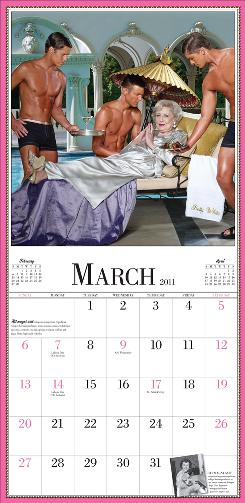 Living the good life: Betty White takes a break from her busy schedule to be waited on by hunks in this image from the March page in her upcoming 2011 calendar.