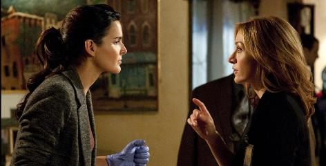 "They don't quite have the look: But Angie Harmon, left, ""really is Jane (Rizzoli),"" says author Tess Gerritsen. And Sasha Alexander's personality is ""certainly how I envision Maura Isles."" The pilot episode of the TNT show is based on Book 2 in Gerritsen's series, The Apprentice."