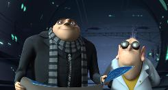 Gru (Steve Carell) teams with mad scientist Dr. Nefario (Russell Brand) and his arsenal of shrink rays in his evil plot to steal the moon.