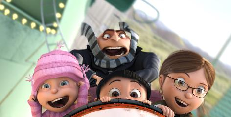 Thrown for a loop: The villainous Gru (voiced by Steve Carell) tries to rope lovable orphans Edith (Dana Gaier), Agnes (Elsie Fisher) and Margo (Miranda Cosgrove) into his nefarious plans.