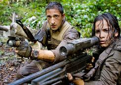 Be very quiet: Royce (Adrien Brody) and Isabelle (Alice Braga) are hunting predators.