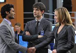 Hide in plain sight: Sendhil Ramamurthy, left, Christopher Gorham and Piper Perabo of USA Network's Covert Affairs.