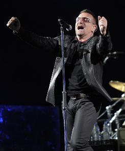 Bono performs during their 360 world tour stop at the Rose Bowl in Pasadena, Calif., in 2009.