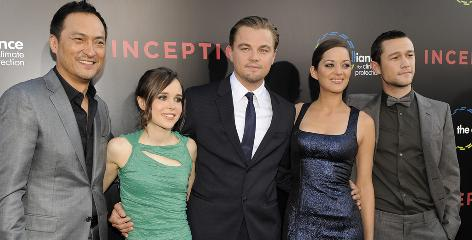 The gang's all here: Inception stars Ken Watanabe, Ellen Page, Leonardo DiCaprio, Marion Cotillard and Joseph Gordon-Levitt line up for photos at Tuesday's premiere in Los Angeles.