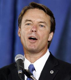Before the scandals: John Edwards speaks to Democratic supporters about his foreign policy strategy for Iran at the University of Iowa in 2007.