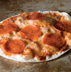 Pepperoni Tortilla Pizza delivers flavor with two kinds of cheese, and it's microwave-easy.