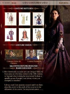 The iPad app for The Pillars of the Earth offers a host of extras, such as this page that focuses on costume design.