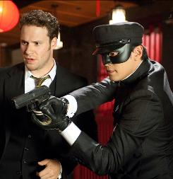 Seth Rogen, left, stars as the Green Hornet. Jay Chou is his sidekick, Kato. The film is out in January.