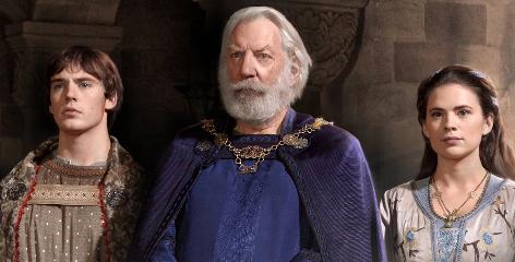 Sam Clafin, left, Donald Sutherland and Hayley Atwell star in the monumental medieval tale about the construction of an architectural masterpiece and the power struggles that surround it.