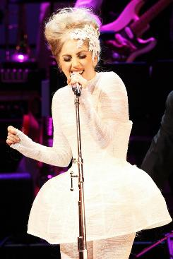 Lady Gaga performs during the Almay concert to celebrate the Rainforest Fund's 21st birthday at Carnegie Hall on May  2010 in New York City.