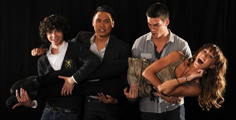 Dance crew: Step Up 3D star Sharni Vinson gets a lift from co-star Adam Sevani, left, director Jon Chu and co-star Rick Malambri. The movie, which moves the action from Baltimore to New York, is out Friday.