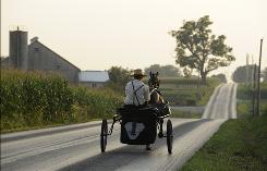 Amish romances are set among serene farms and tranquil scenery, much like this rural road in Lancaster County, Pa.