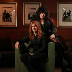 Straight on  in a new direction: Heart's Nancy Wilson, front, and Ann Wilson, the original women in hard rock, return with a new album, Red Velvet Car. It will hit record stores Tuesday.