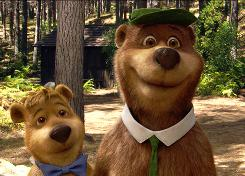 "Bear necessities: Boo Boo (Justin Timberlake) and Yogi Bear (Dan Aykroyd), rounded out from the original Hanna-Barbera cartoon, below. The initial attempt to make them live-action ""was frightening,"" says director Eric Brevig."